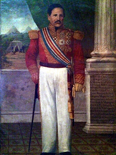 Captain General Rafael Carrera after being appointed President for Life of the Republic of Guatemala in 1854. Carrerayturcios 2014-06-22 09-46.jpg