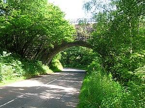 Carronbridge railway station - Part of the nearby railway viaduct.