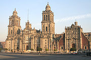 Mexico City Metropolitan Cathedral, with the Sagrario Metropolitano slightly to the right.