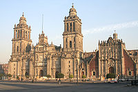 Mexico City Cathedral, with the Metropolitan Tabernacle to the right.