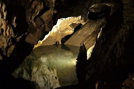 A cave at the Matka Canyon. Cave lake (8172274819).jpg