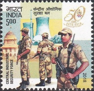 Central Industrial Security Force - A 2018 stamp dedicated to the 50th anniversary of the Central Industrial Security Force