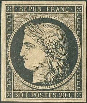 Ceres series (France) - 20 centimes black, one of the first two issued stamps of the series.