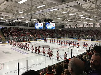 Cardiff Devils - Challenge Cup Final at The Viola Arena. The players of the Cardiff Devils and the Sheffield Steelers line up for the national anthems at the start of the 2016-17 Challenge Cup Final. The Devils won 3–2