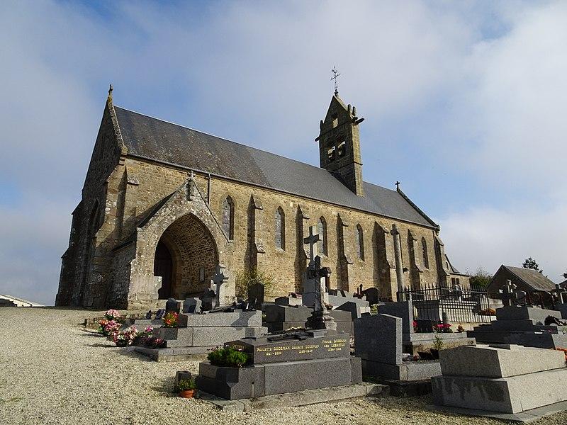 Champeaux, Manche. Eglise et son cimetière.