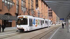 Charleroi Metro line 2 - A line 2 tram at Tirou station.