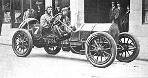 Charles Bigelow (racing driver) - Charles Bigelow and his mechanic pose in their Mercer car, ca. 1911