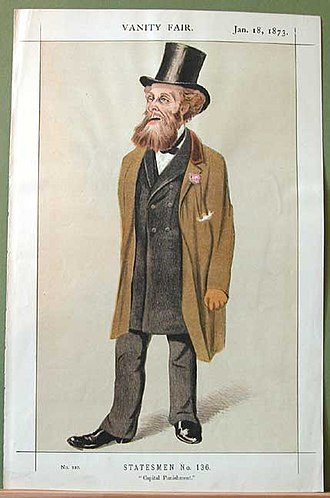 """Charles Gilpin (politician) - Gilpin as portrayed by Melchiorre Delfico in Vanity Fair, 18 January 1873. It is captioned """"Capital Punishment"""""""