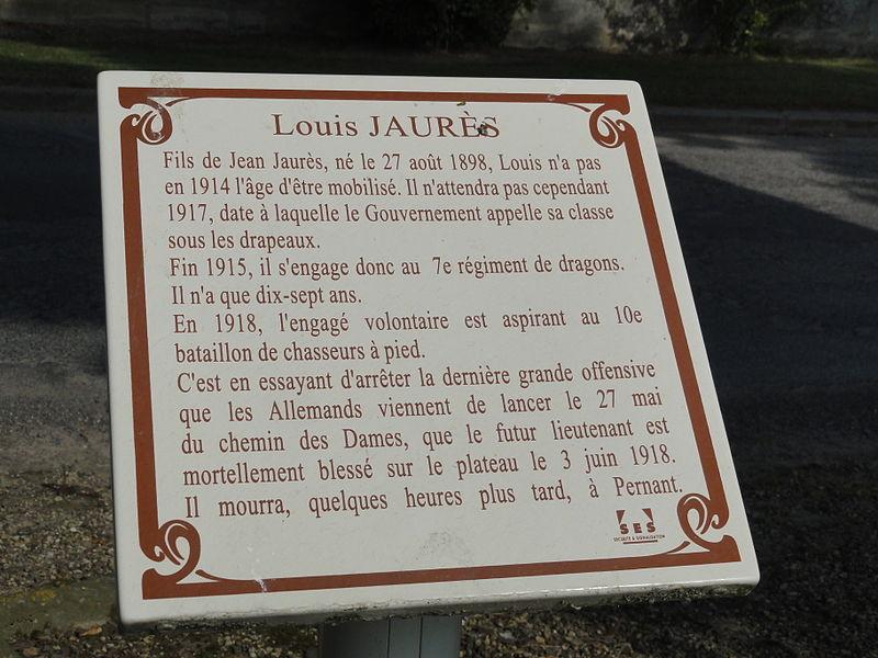 Chaudun (Aisne) mémorial Louis Jaurès, plaque