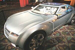 A plug-in, flex-fuel hybrid car. It has a 40-m...