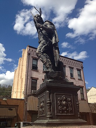 Sharpsburg, Pennsylvania - The third incarnation of the Indian Statue located in the heart of the Sharpsburg Central Business District, commonly referenced as Chief Guyasuta.