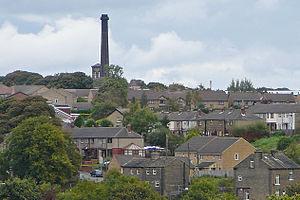 Queensbury, West Yorkshire - Image: Chimney of the Black Dyke Mills, Queensbury