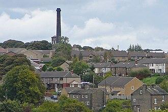 Queensbury, West Yorkshire - Image: Chimney of the Black Dyke Mills, Queensbury
