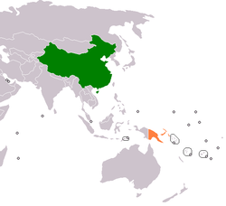 Map indicating locations of China and Papua New Guinea