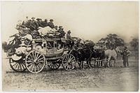 Chinese leaving for the diggings. Cobb & Co. coach, Castlemaine..jpeg