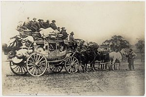 Castlemaine, Victoria - Coach is packed with equipment, Chinese passengers inside and on top of coach, 1835.