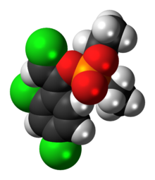 Space-filling model of the (Z)-chlorfenvinphos molecule