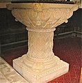 Christ Church, Welshpool. Font ? either of Caen stone or terracotta.c.1844.JPG