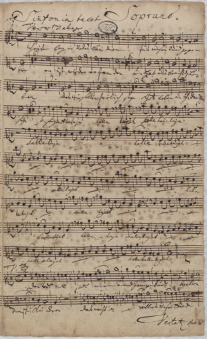 Christ lag in Todes Banden, BWV 4 - Soprano part from opening chorus with text in Bach's own hand, Thomaskirche, Leipzig, 1724