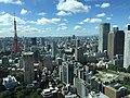 Cityscape near Tokyo Tower, ARK Hills Sengokuyama Mori Tower, and Shiroyama Trust Tower, view from Toranomon Hills Mori Tower, Minato-ku, Tokyo - 2 (2015-09-11 by yellowmagics9 @Pixabay 1121869).jpg