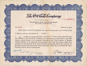The Coca-Cola Company - Certificate of Purchase Class A Stock for 20 Shares of The Coca-Cola Company, issued 20. February 1929