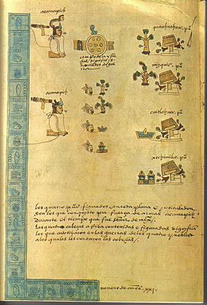 Atotoztli I - Atotoztli's son Acamapichtli is here depicted twice. From Codex Mendoza.