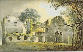 "Colcombe Castle - ""Inside of Colecombe Castle"", watercolour by Rev. John Swete dated 26 January 1795. Devon Record Office 564M/F7/73"