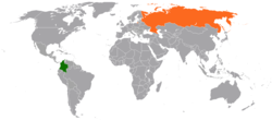 Map indicating locations of Colombia and Russia