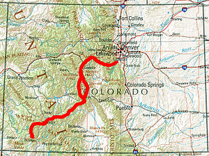 Colorado Trail - The trail's route, roughly, in red.