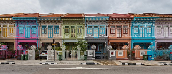 Colorful shophouses in Koon Seng Road, Singapore