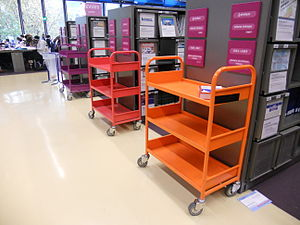 Colour coded trolleys, library at Centre Georges Pompidou, Paris November 2011.jpg