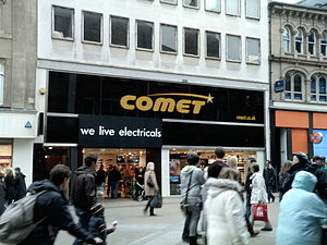 Comet Group - In the late 2000s, Comet experimented with High Street branches such as this on Briggate in Leeds. They were closed shortly afterwards.