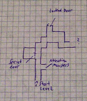 Role-playing video game - Example of a dungeon map drawn by hand on graph paper. This practice was common among players of early role-playing games, such as early titles in the Wizardry and Might and Magic series. Later on, games of this type started featuring automaps.