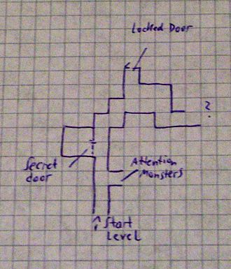 Dungeon crawl - Example of a hand-drawn dungeon map