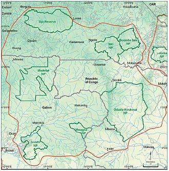 Minkébé National Park - The Congo forest basin under the TRIDOM interzone of protection. Minkébé National Park is shown in the west