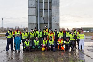 Copenhagen Suborbitals - The crew gathered in front of the static rocket test setup in November 2011