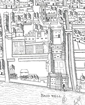 "Bridewell Palace - Bridewell Palace shown on the ""Copperplate"" map of London, surveyed between 1553 and 1559"