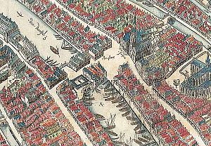 Rokin - Amsterdam in 1544, with Dam square in the centre and the Rokin in the top left. In 1936, the Rokin was filled in from Dam square to Spui square.