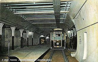 Government Center station (MBTA) - Court Street station on an early postcard