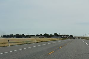Cowley, Alberta - Looking east at Cowley on AB3 (Crowsnest Highway)