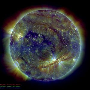 Corona - Image taken by the Solar Dynamics Observatory on Oct 16 2010. A very long filament cavity is visible across the Sun's southern hemisphere.