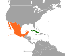 Cubamexico relations wikipedia map indicating locations of cuba and mexico gumiabroncs Gallery