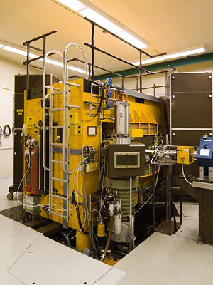 Cyclotron - A modern cyclotron used for radiation therapy. The magnet is painted yellow.