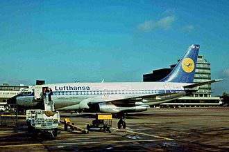 Lufthansa Flight 181 - D-ABCE, the aircraft involved in the hijacking, at Manchester Airport in 1975
