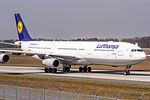 D-AIFF Lufthansa Airbus A340-313 coming in from Atlanta (KATL) @ Frankfurt - Rhein-Main International (FRA - EDDF) - 08.04.2015 (17143676060).jpg