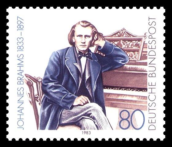 Почтовая марка ФРГ, посвящённая И. Брамсу, 1983, 80 пфенингов (Скотт 1394)