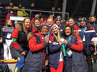 Sarah Sanders - Sanders with Ivanka Trump, Lauren Gibbs and Shauna Rohbock at the 2018 Winter Olympics in Pyeongchang, South Korea