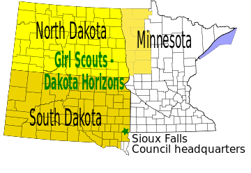 Map of Girl Scout Council in North Dakota, South Dakota, and part of Minnesota