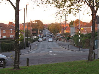 Knowle West - Daventry Road in the heart of the 1930s development looking east from Melvin Square