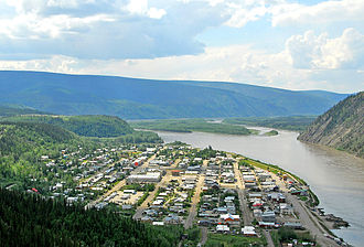 Dawson City - Aerial view of Dawson City with the Yukon River